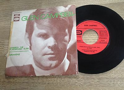 """French 7"""" Glen Campbell Where's the playground Susie / Arkansas 1969 EXC"""
