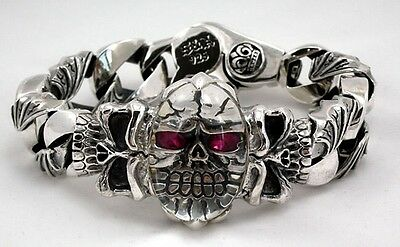 Crystal Red Eye Skull Tribal Cuban Sterling Silver Bracelet  New 9 Inches