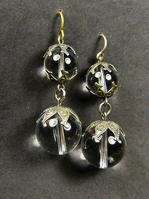 WONDERFUL ANTIQUE VICTORIAN ART NOUVEAU SILVER PLATED POOL of LIGHT EARRINGS