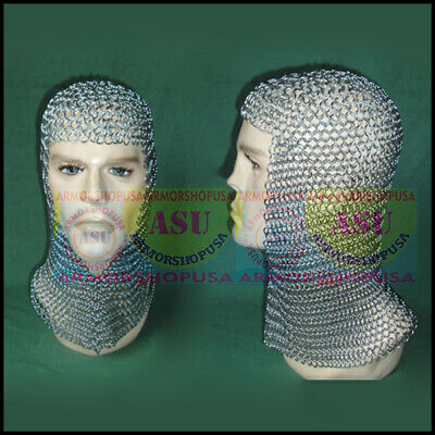 Medieval Knights Clothing Butted Aluminium Chain Mail Coif ~ Ring Maille Hood