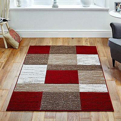 New Luxurious Thick Pile Rug Modern Soft Silky Contemporary Block  Rugs Mats Uk