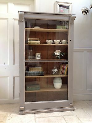 Antique Pine French Style Glazed Display Cabinet Painted Grey Bookcase Cupboard