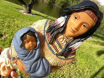 Native American Indian girl holding  a baby beautiful  sculpture home decor