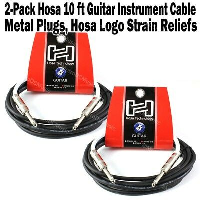 "2-Pack Hosa 10 ft Guitar Instrument Cable Cord Patch 1/4"" Logo Straight Bass NEW"