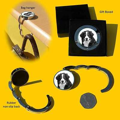 Bernese Mountain Dog Chrome Plated Round Shape Bag Hanger in Gift Box