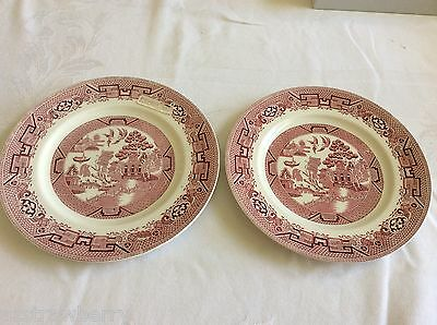 """Ridgway Willow North Staffordshire red Willow Dinner lunch Plate 9"""" set of 2"""