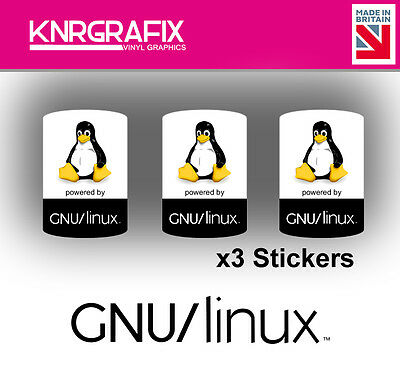 KNR7724 3x GNU LINUX Sticker Decal Badge PC Repair