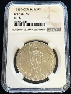 1925 G Silver Germany 5 Mark Weimar Republic Rhineland Ngc Mint State 63