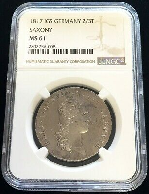 1817 Igs Silver Saxony Germany 2/3 Thaler Friedrich August Ngc Mint State 61