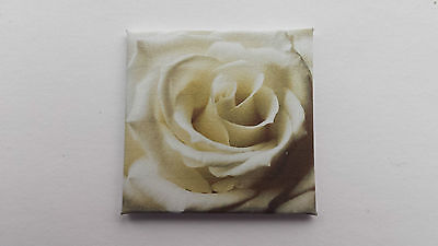 Handmade Miniature Doll House Accessory Canvas Style Wall Art Picture White Rose