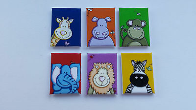 Handmade Miniature Dolls House Accessory Canvas Style Wall Art Picture Animals