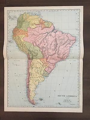 "Large 21"" X 14 1/2"" COLOR Rand McNally Map of South America  (1905)"