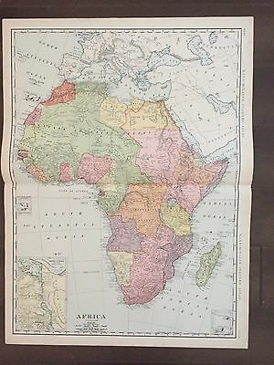 "Large 21"" X 14 1/2"" COLOR Rand McNally Map of Africa  (1905)"
