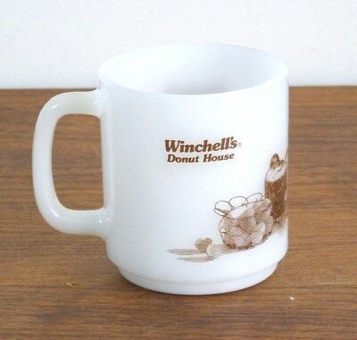 Vtg Milk Glass Mug Winchells Donut House Glasbake Coffee Cup Advertising