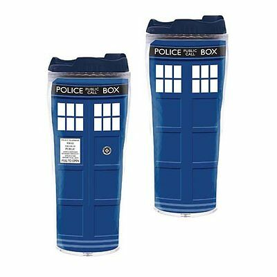 Two-Doctor Who Like Police Box Travel Mugs  Insulated Tumbler Cups - 12 oz