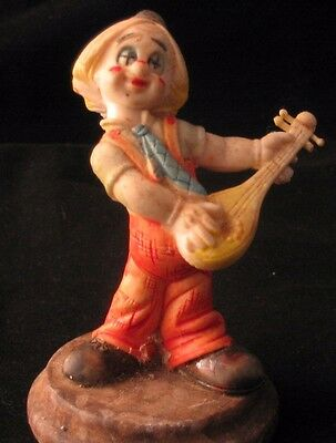 "CHILD HOBO CLOWN WITH LUTE / MANDOLIN  3 1/2""  Resin on wood base  EUC"