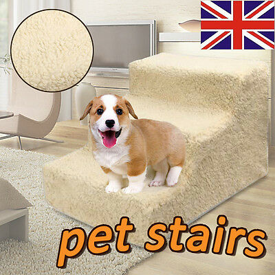 Folding Pet Dog Puppy Cat Ladder Doggy 3 Steps Soft Stairs Ramp & Washable Cover