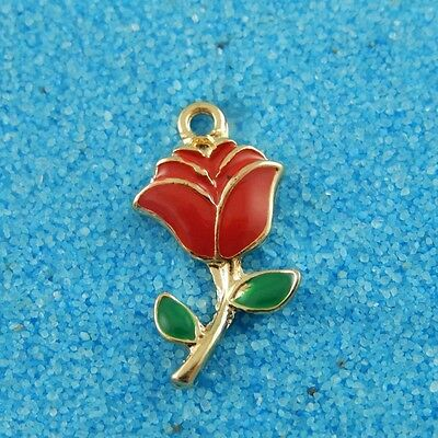 Vintage Gold Alloy Red Rose Flowers Pendants Charms Findings Crafts 10pcs 38928