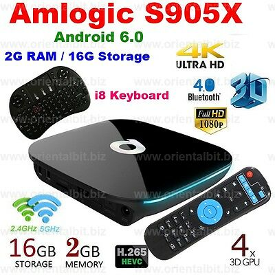 QBox 2+16G 4K Smart TV Box Android 6 Quad Core Fully Loaded+Keyboard