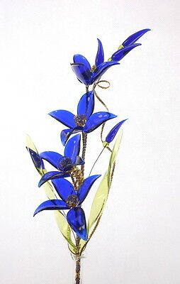 Living Room Decoration Amazing Royal Blue Flower On Wire Stem Gift From Love Hot