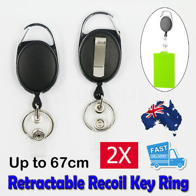 NEW 2 X Retractable Chain ID Holder Reel Recoil Key Ring Belt Clip Pull Black AU