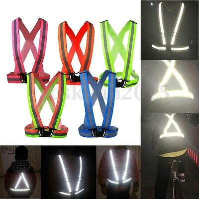 5 Type Adjustable Safety Reflective Vest Belt Waistcoat For Night Riding Running