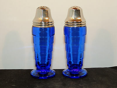 Glass Modern tone blue Salt and Pepper Shakers over 4 inches tall (10203)