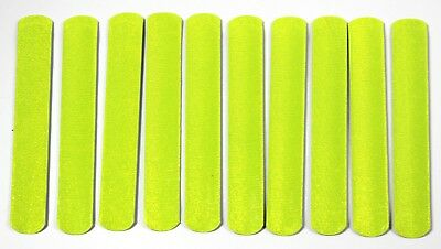 Ten High-Viz  Reflective Slap Snap Bands Fluorescent Safety Straps One Size