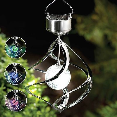 Colour Changing Solar Powered Spiral Wind Spinner Led Light Outdoor Garden Lamp