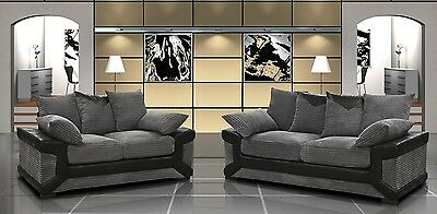 Dino sofa jumbo cord leather & fabric  black & grey or brown & beige