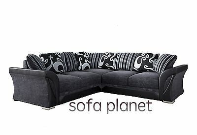 Farrow Leather & Chenille Fabric Corner Or 3+2 Sofa In Black Grey Brown Beige