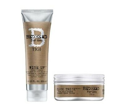 Tigi Bed Head For Men Slick Trick Pomade and Wise Up Scalp Shampoo 250ml Duo