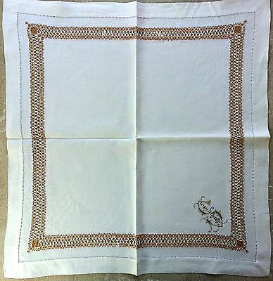 """Antique Linen Napkins (12) Hemstitched with Gold Silk Metallic thread """"IS"""" mgrm"""