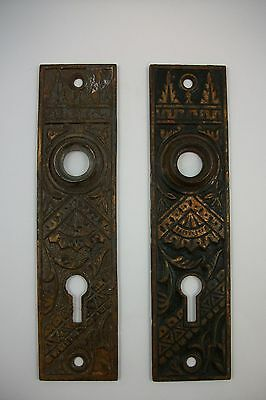 Pair Antique Cast Brass Escutcheons Eastlake Victorian Oriental Door Knob Plates