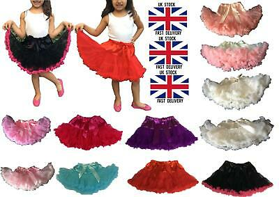 Girls Kids Ballerina Petticoat Layers TUTU fluffy Skirt Fancy Dress Dance Party