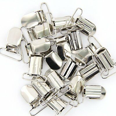 20pcs Webbing Hook Pacifier Suspender Clips Silver 25mm WS