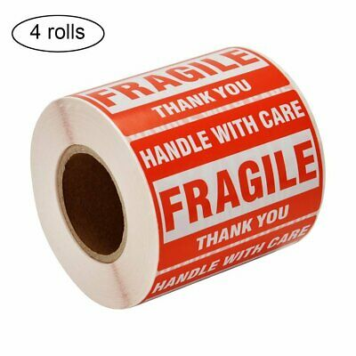"4 Rolls 2""x3"" Fragile Stickers 500 Per Roll Handle with Care Thank You Labels"