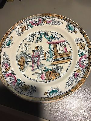 """Antique Ashworth Hand Painted Chinese Pattern Luncheon Plate 9 1/2"""""""