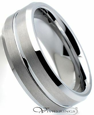 Mens Tungsten Carbide Wedding Band Brushed Groove Ring 8mm Size 7.5 to 14.5