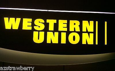 WESTERN UNION double sided Plastic Light up LED Premium Advertising Sign w fin