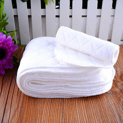New Washable 10PCS Reusable Baby Cloth Diaper Nappy Liners insert Cotton White