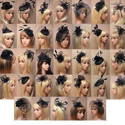 Black Fascinator on Headband/ Clip-in for Weddings, Races and Occasions