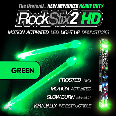 ROCKSTIX BRIGHT GREEN LED LIGHT UP DRUMSTICKS (accessories) (not firestix)