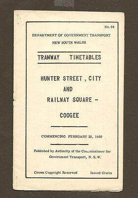 Coogee - Railway - City 1960 Tramway Timetable $20