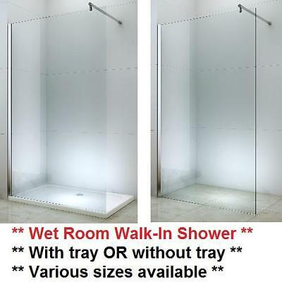 Wet Room Walk In Shower Enclosure Cubicle Tray Glass Screen 1000 1200 1400 80 90