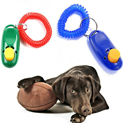 New Pet Dog Cat Training Trainer Clicker Click Wrist Strap Guide Toy Randomly