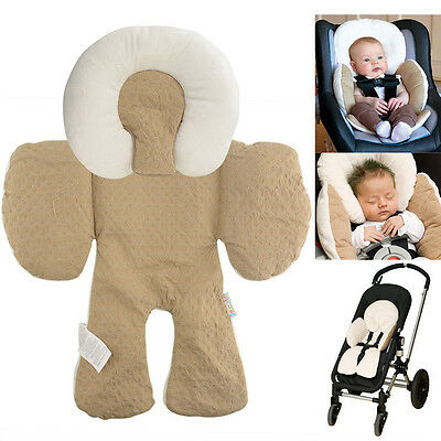 New Infant Khaki Stroller Pram Two Sided Seat Cushion Body Support Pad Liner Car