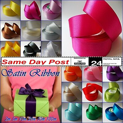 Quality SATIN RIBBON 25mm Crafts Flowers Decoration Gifts Soft Glossy Party Tape