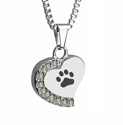 Paw Heart with Crystals Pet Cat Dog Urn Pendant Memorial Ash Cremation Jewellery