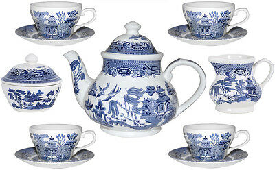 Churchill Blue Willow 11 Piece Tea Set - New/unused